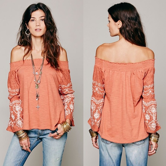 80328eb3069540 Free People Tops - Free People Off Shoulder Embroidered Acapulco Top